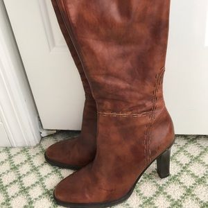 JCREW size 7 leather brown boots with heel